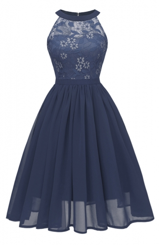 Magnificent Embroidered Blue Lace Dress
