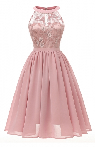 Magnificent Embroidered Pink Lace Dress