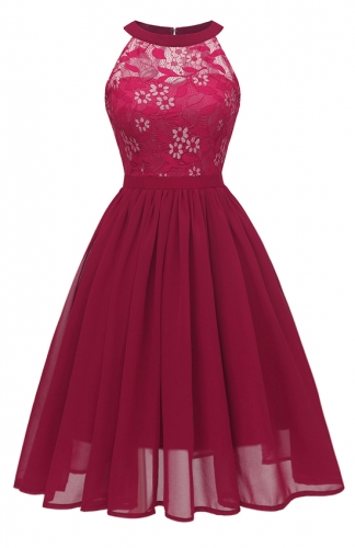 Magnificent Embroidered Lace Red Dress