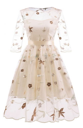Beige Elegant Embroidery bud silk gauze three-layer dress