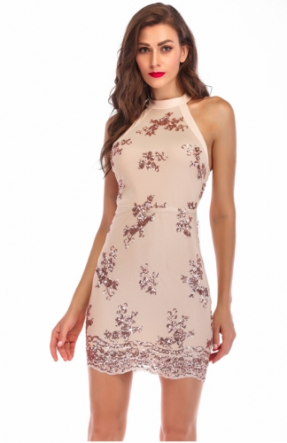 Beige High Neck Crochet Lace Bodycon Dress