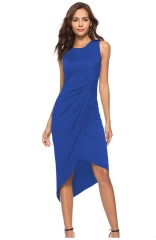 Summer Womens casual sleeveless blue dress