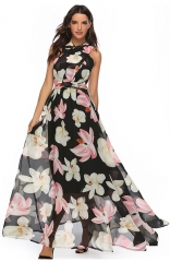 Layered-Back Lace-Up Floral Print Maxi Dress