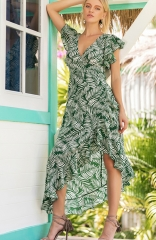 Green Floral Printed Long Maxi Dress