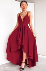 Deep V-neck Halter Red High-Low Dress