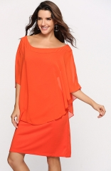 Round Neck 3/4 Sleeves chiffon Maxi Dress