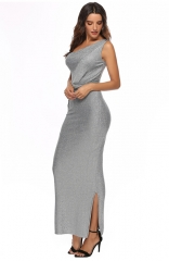 Gray One-shoulder Sleeveless Dress