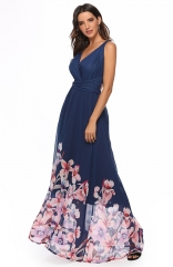 Elegantly Floral Print Bandage adjustable Maxi Dress