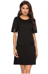 Half Sleeve Round Neck Wrap Dress - Black