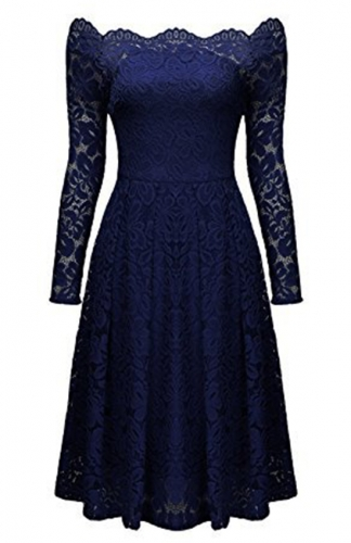 Floral Lace Blue Long-Sleeve Dress