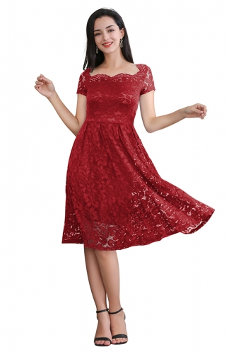 Short Sleeve Printed Mesh Fit-and-Flare Red Cocktail Dress