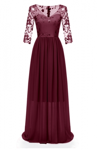 Red Lace Embroidery Gown Double-Layer Chiffon Maxi Dress