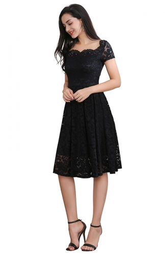 Short Sleeve Black Printed Mesh Fit-and-Flare Cocktail Dress
