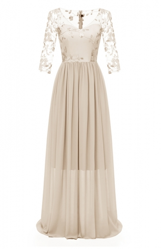 Beige Lace Embroidery Gown Double-Layer Chiffon Maxi Dress