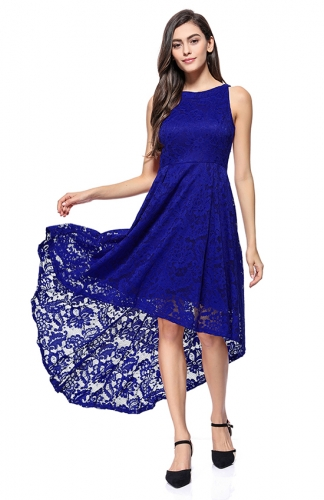 High-Low Lace Off-The-Shoulder blue Printed Dress