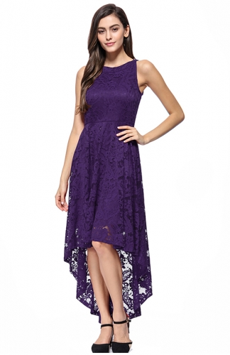 High-Low Lace Off-The-Shoulder Printed Dress Purple