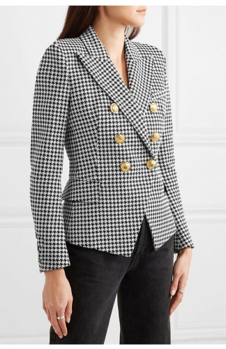 Lapel Double Breasted Mid Long Blazer Suit Jacket