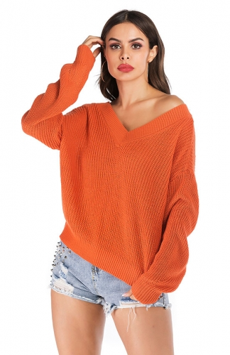 V-neck Solid Loose Long Sleeve Knitting Tops Short Sweater