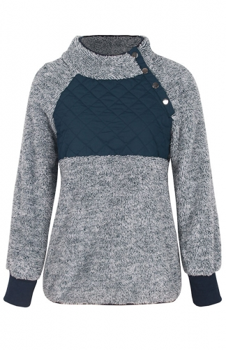 Gray Long Sleeves Oblique Button Neck Sweatshirts Outwear