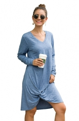 Side Knot T Shirts Dresses Casual Long Sleeve Blue V Neck Dress