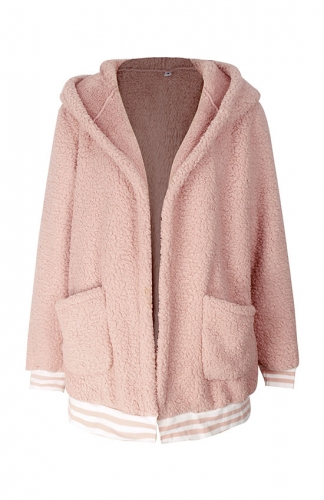 Pink Front Cardigans Oversize Loose Outwear Tops with Pocket