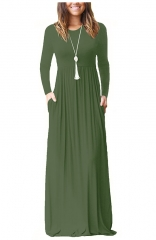 Green Long Sleeve Pockets Loose Maxi Dresses