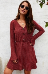Red Long Sleeve Elegant Knitted Bodycon Tie Waist Sweater Pencil Dress