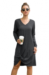 Side Knot T Shirts Dresses Gray Casual Long Sleeve Plain V Neck Dress