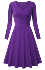 Purple Elegant Long-sleev Bodycon Maxi Dress