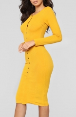 Yellow Fitted Stretch Sexy Sweater Warm Dress