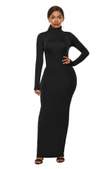 Black Long Sleeve Casual Maxi Dresses