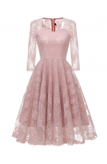 Pink Long Sleeve A Line Lace Bridesmaid Dress Midi