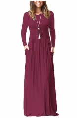 Long Sleeve Red Pockets Loose Maxi Dresses