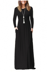 Black Long Sleeve Pockets Loose Maxi Dresses