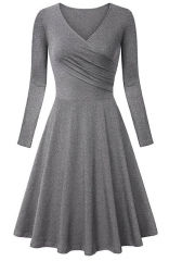 Gray Elegant Long-sleev Bodycon Maxi Dress