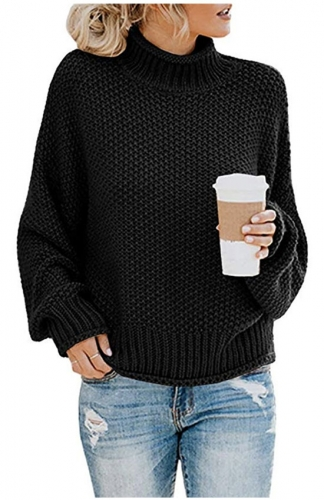 Turtleneck Sweaters Batwing Long Sleeve Pullover Loose Jumper