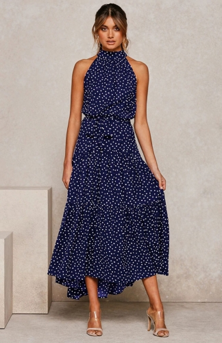 Casual Halter Neck Sleeveless Elastic Printed Maxi Dress