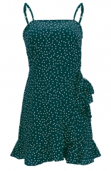 Retro Polka Dot Floral Print Ruffle Wrap Front Tie Knot Fishtail Short Dress