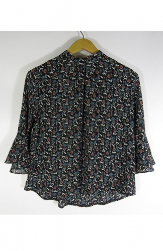 Women's High Neck Floral Print Puff Long Sleeve Chiffon Blouse